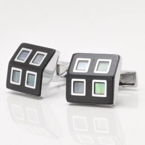 Black Enamel Mother of Pearl Four Squared Cufflinks