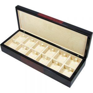 Black & Laminated Burlwood Veneer 12 Cufflink Box