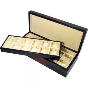 Black & Laminated Burlwood Veneer 24 Cufflink Box