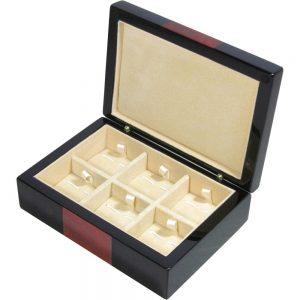 Black & Laminated Burlwood Veneer 6 Cufflink Box