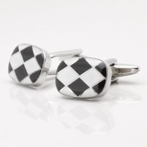 Black & White Diamond Design Cufflinks