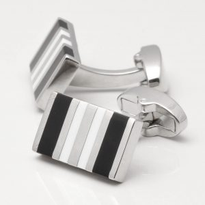 Black & White Rectangular Cufflinks
