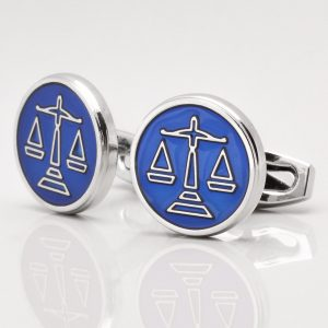 Blue Enamel Scales of Justice Cufflinks