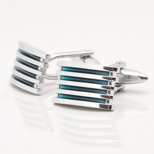 Blue Enamelled Grid Cufflinks