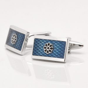 Blue Epoxy Floral Design Cufflinks