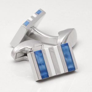 Blue & White Rectangular Cufflinks