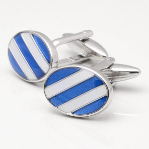 Blue & White Stripe Cufflinks