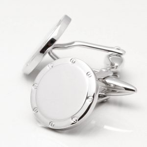 Brushed Rhodium Circle Cufflinks