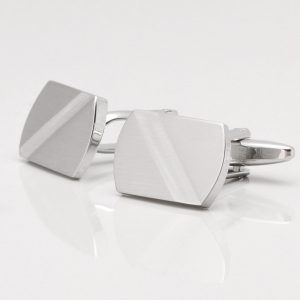 Brushed Rhodium Cufflinks with Diagonal Stripe