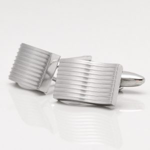 Brushed Rhodium Wavy Lined Cufflinks