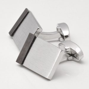 Brushed Rhodium with Gunmetal Edge Cufflinks