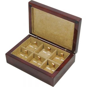 Camphor Burl Wood 6 Cufflink Box