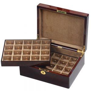 Camphor Burl Wood Veneer 40 Cufflink Box