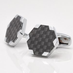 Carbon Fibre Hexagon Cufflinks