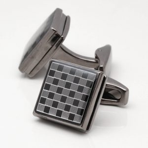 Chequered Gunmetal Square Cufflinks