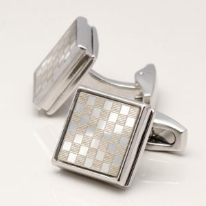 Chequered Rhodium Square Cufflinks