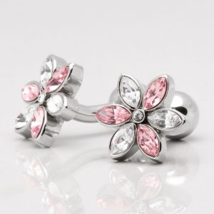 Clear & Pink Crystal Flower Cufflinks