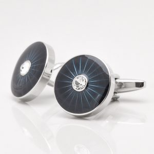 Dark Blue Epoxy Crystal Cufflinks