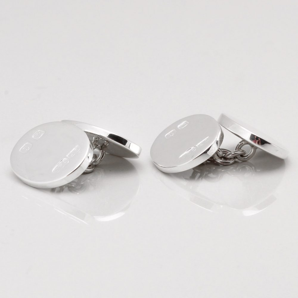 Double Sided Sterling Silver Hallmarked Oval Cufflinks