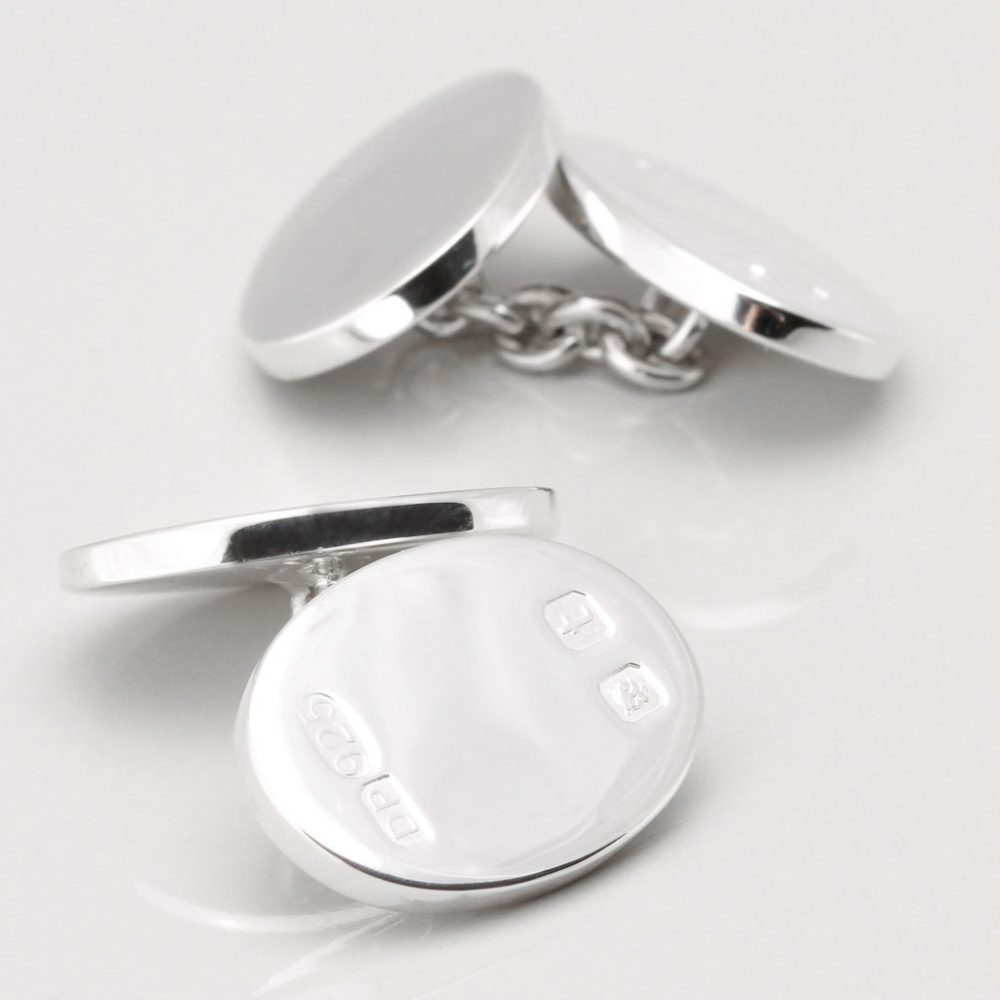 Double Sided Sterling Silver Hallmarked Oval Cufflinks Gallery