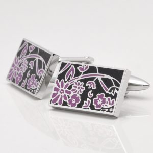 Floral Black & Purple Cufflinks