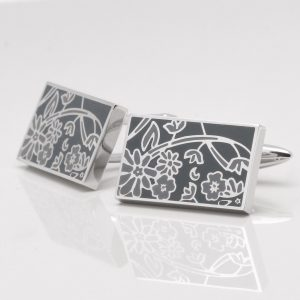 Floral Two Tone Grey Cufflinks