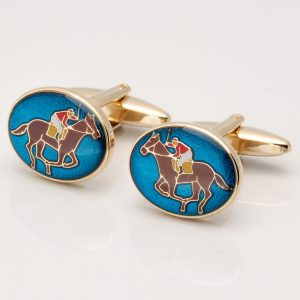 GOLD PLATED HORSE RACING CUFFLINKS