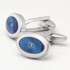 Glistening Blue & White Oval Cufflinks