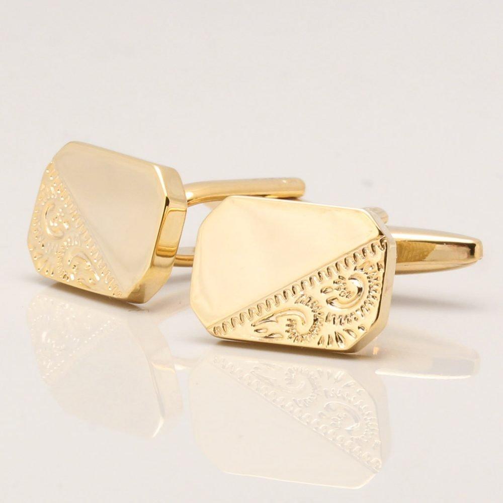 Gold Classic Motif Octagon Cufflinks