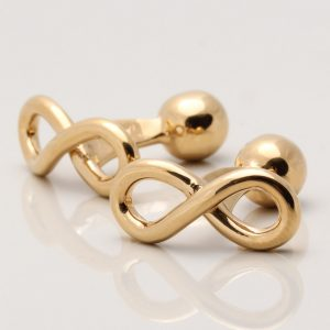 Gold Sterling Silver Infinity Cufflinks