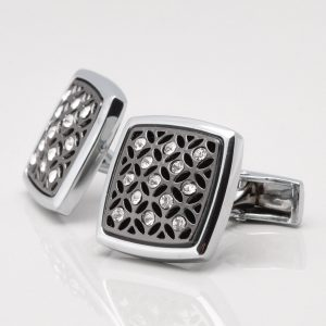 Gunmetal Crystal Cufflinks