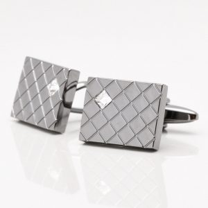 Gunmetal Cufflinks with Corner Crystals