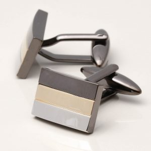 Gunmetal Cufflinks with Gold Plated & Rhodium Stripes