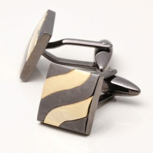 Gunmetal Cufflinks with Gold Plated Waves