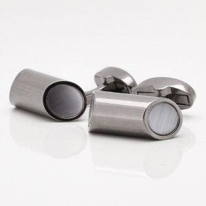 Gunmetal Cylinder Cufflinks