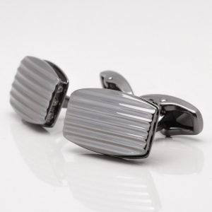 Gunmetal Rectangular Lined Cufflinks