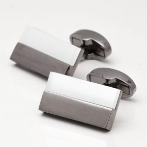 Gunmetal Rectangular White Lined Cufflinks