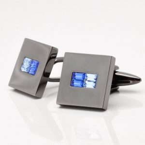 Gunmetal Square Two Tone Sapphire Crystal Cufflinks