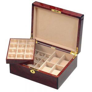 Laminated Makah Burlwood Veener 4 Watch & 24 Cufflink Valet Box