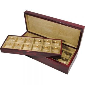 Laminated Rosewood Veneer 24 Cufflink Box