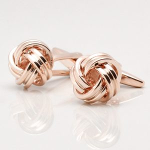 Large Rounded Knot Cufflinks, Rose Gold