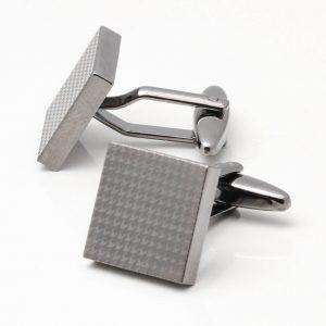 Laser Etched Dog Tooth Design Cufflinks