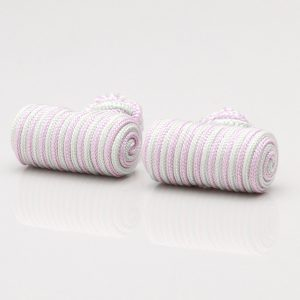 Lilac Mint Striped Barrel Knot Cufflinks