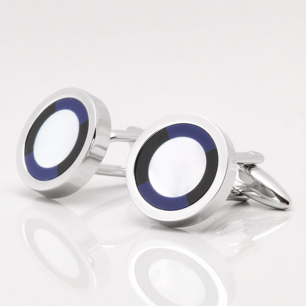 Mother of Pearl Cufflinks with a Lapis & Onyx Border