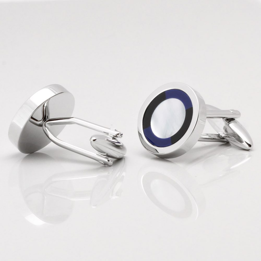 Mother of Pearl Cufflinks with a Lapis & Onyx Border Gallery