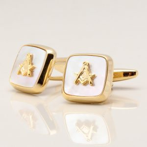 Mother of Pearl Embossed Masonic Symbol Cufflinks