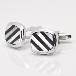 Mother of Pearl & Onyx Diagonal Lined Cufflinks