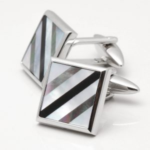 Mother of Pearl & Onyx Diagonal Lined Square Cufflinks