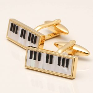 Mother of Pearl & Onyx Piano Cufflinks