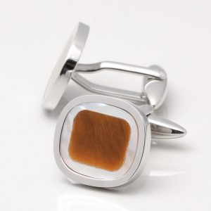 Mother of Pearl & Tiger Eye Stone Cufflinks
